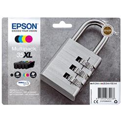 Epson Padlock 35XL T3596 DURABrite Ultra Multipack (Black 40.2ml and Cyan/Magenta/Yellow 20.3ml) Ink Cartridges Ref C13T35964010