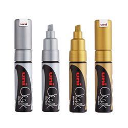 Uni-Chalk Marker Pen Broad Chisel Tip 8mm Line Gold/Silver Ref 153544895 [Pack 4]