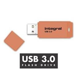 Integral Neon USB3.0Drive 128GB  Orange