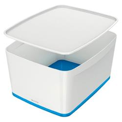 Leitz MyBox Storage Box Large with Lid Plastic W385xD318xH198mm White/Blue Ref 52164036