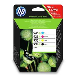 Hewlett Packard[HP] No.934XL/935XL Inkjet Cartridge Page Life 1000pp Black 925pp Col Ref X4E14AE [Pack 4]