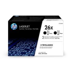 Hewlett Packard [HP] 26X Laser Toner Cartridges High Yield Page Life 9000x2pp Black Ref CF226XD [Pack 2] - £20 Cashback