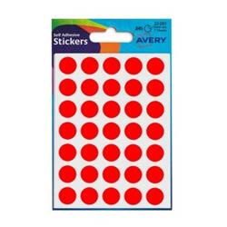 Avery Packets of Labels Diam.13mm Fluorescent Red Ref 32-281 [10x245 Labels]