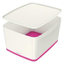 Leitz MyBox Storage Box Large with Lid Plastic W385xD318xH198mm White/Pink Ref 52164023