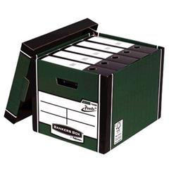 Bankers Box Premium Storage Box Tall FSC Green and White [Pack 12] [12 for the price of 10] Ref 7260803 - Free Iderama Lever Arch Files when you buy 2 packs of Bankers Boxes