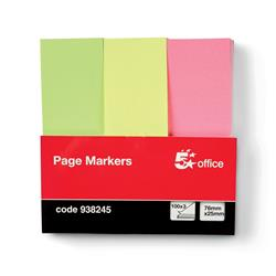 5 Star Office Paper Page Markers 100 Sheets per Pad 25x76mm