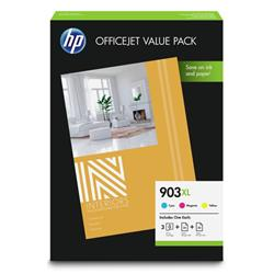HP 903XL Inkjet Cartridges Page Life 825x3pp Cyan/Magenta/Yellow 1CC20AE [Pack 3]