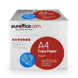 Euroffice A4 Paper Ream-Wrapped 80gsm White Box [5 x 500 Sheets]