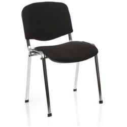 Club Stacking Chair Black Fabric Chrome Frame Without Arms Ref CH0503BK