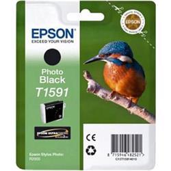 Epson T1591 Inkjet Cartridge Kingfisher 17ml Photo Black Ultra Chrome Ref C13T15914010