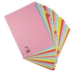 Elba Card Dividers Europunched 160gsm A-Z 20 Part A4 Assorted Ref 400021450