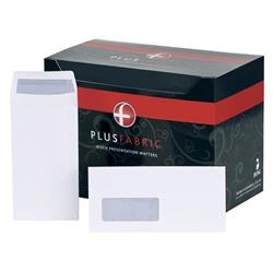 Plus Fabric Envelopes Pocket Press Seal Window 110gsm DL White - Pack 500