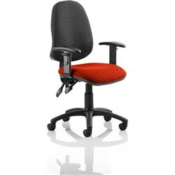 Eclipse II Lever Task Operator Chair Black Back Pimento Colour Seat Fabric With Height Adjustable Arms Ref KCUP0847