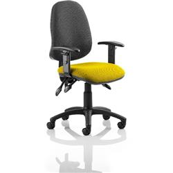 Eclipse III Lever Task Operator Chair Black Back Sunset Colour Seat With Height Adjustable Arms Ref KCUP0875