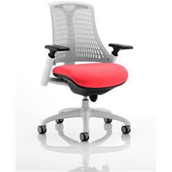 Flex Task Operator Chair White Back White Frame Cherry Colour Seat With Arms Ref KCUP0729