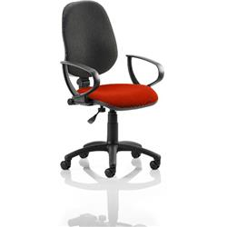 Eclipse I Lever Task Operator Chair Black Back Pimento Colour Seat With Loop Arms Ref KCUP0799