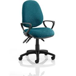 Luna III Lever Task Operator Chair Kingfisher Colour With Loop Arms Ref KCUP0966