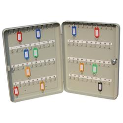 Key Cabinet Steel with Lock 80 Colour Tags 80 Numbered Hooks Grey