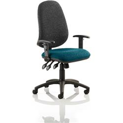 Eclipse XL III Lever Task Operator Chair Black Back Kingfisher Colour Seat With Height Adjustable Arms Ref KCUP0910