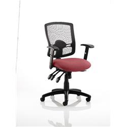 Portland III Task Operator Chair Black Mesh Back Chilli Colour Seat With Arms Ref KCUP0494