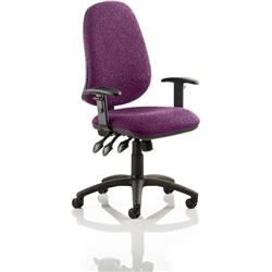 Eclipse XL III Lever Task Operator Chair Purple Colour With Arms Ref KCUP0892