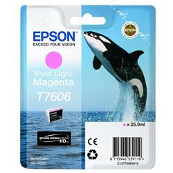 Epson T7606 (25.9ml) Vivid Light Magenta Ink Cartridge for SureColor SC-P600 Printers
