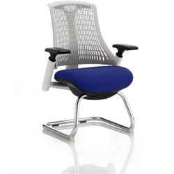 Flex Task Operator Chair White Back Cantilever White Frame Serene Colour Seat With Arms Ref KCUP0723