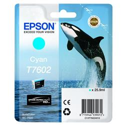 Epson T7602 (25.9ml) Cyan Ink Cartridge for SureColor SC-P600 Printer