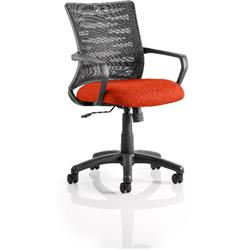 Vortex Task Operator Chair Pimento Colour Seat Fabric With Arms Ref KCUP0604