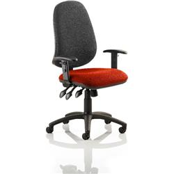 Eclipse XL III Lever Task Operator Chair Black Back Pimento Colour Seat With Height Adjustable Arms Ref KCUP0911