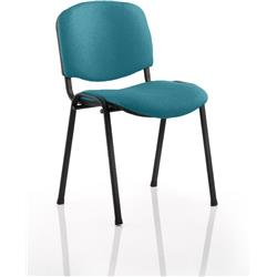 ISO Stacking Chair Kingfisher Colour Fabric Black Frame Without Arms Ref KCUP0311