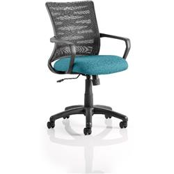 Vortex Task Operator Chair Kingfisher Colour Seat Fabric With Arms Ref KCUP0607