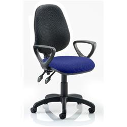 Eclipse II Lever Task Operator Chair Black Back Serene Colour Seat Fabric With Loop Arms Ref KCUP0849