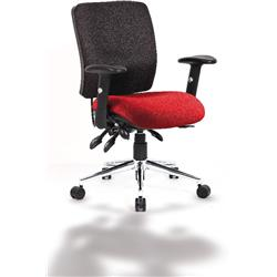 Chiro Task Operator Chair Medium Back Cherry Colour Seat With Arms Ref KCUP0121