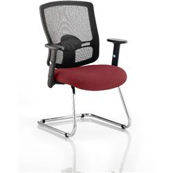 Portland Visitor Chair Cantilever Chilli Colour Seat With Arms Ref KCUP0470