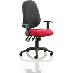 Eclipse XL III Lever Task Operator Chair Black Back Cherry Colour Seat With Height Adjustable Arms Ref KCUP0904