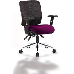 Chiro Task Operator Chair Medium Back Purple Colour Seat With Arms Ref KCUP0128