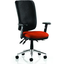 Chiro Task Operator Chair High Back Pimento Colour Seat With Arms Ref KCUP0108