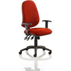 Eclipse XL III Lever Task Operator Chair Pimento Colour With Height Adjustable Arms Ref KCUP0895