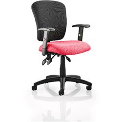 Toledo Task Operator Chair Cherry Colour Seat With Arms Ref KCUP0585