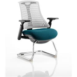 Flex Task Operator Chair Black Frame White Back Cantilever Kingfisher Colour Seat With Arms Ref KCUP0759