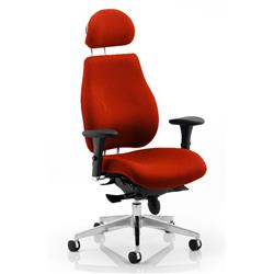 Chiro Plus Posture Chair Ultimate With Headrest Pimento Colour With Arms Ref KCUP0172