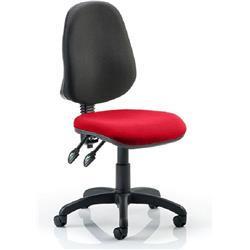 Eclipse II Task Operator Chair Cherry Colour Seat Fabric Without Arms Ref KCUP0233