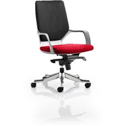 Xenon Executive Chair White Medium Back Cherry Colour Seat With Arms Ref KCUP0617