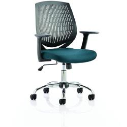 Dura Black Task Operator Chair Back Kingfisher Colour Seat With Arms Ref KCUP0207