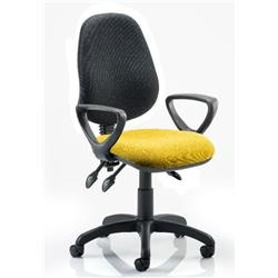 Eclipse III Lever Task Operator Chair Black Back Sunset Colour Seat With Loop Arms Ref KCUP0883