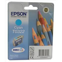 Epson T0322 Cyan DURABrite Inkjet Cartridge (Pencils) Stylus C70/C80 Ref C13T032240