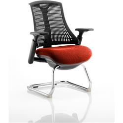 Flex Task Operator Chair Black Frame Black Back Cantilever Pimento Colour Seat With Arms Ref KCUP0276