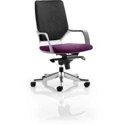 Xenon Executive Chair White Medium Back Purple Colour Seat With Arms Ref KCUP0624