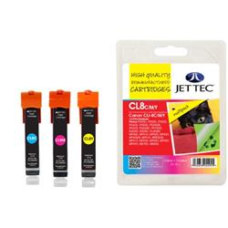 Jet Tec Canon Compatible CLI-8CMY (3x13ml) Remanufactured Inkjet Cartridge (Multipack - Cyan, Magenta, Yellow)